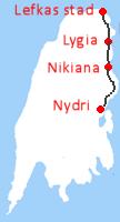 Van Lefkas stad via Lygia en Nikiana naar Nydri