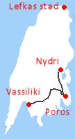Vanaf Nydri�naar Poros en dan naar Vassiliki