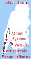 Van Vassiliki naar Athani,de stranden Egremni en Porto Katsiki en dan helemaal naar het zuidwesten naar de kaap Lefkatas